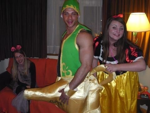 Butler wearing aladin costume