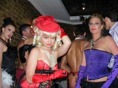 Burlesque posing for picture