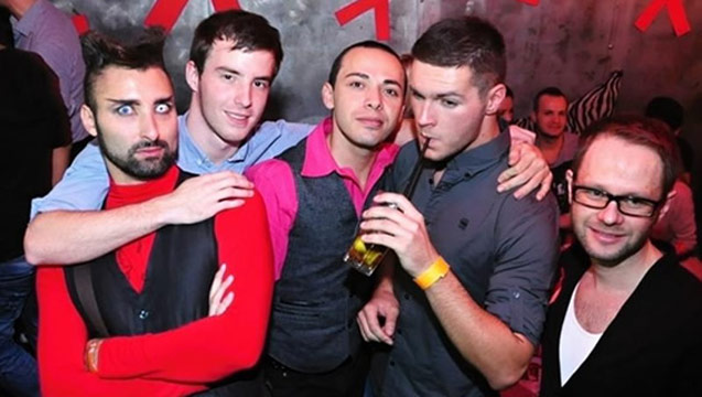 Gay party with 4 guys posing